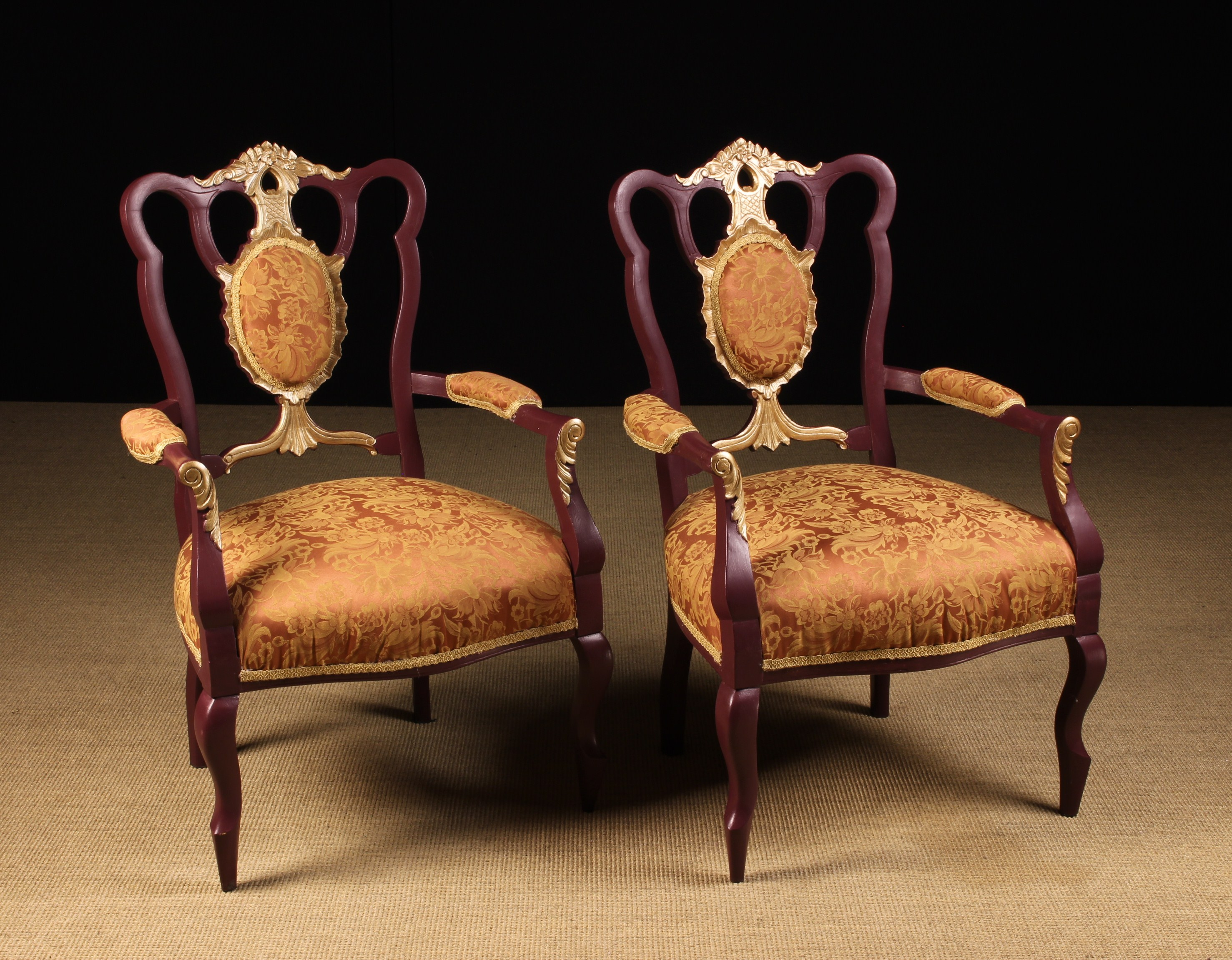 A Pair of Edwardian, Painted and Partially Gilt Salon Armchairs.