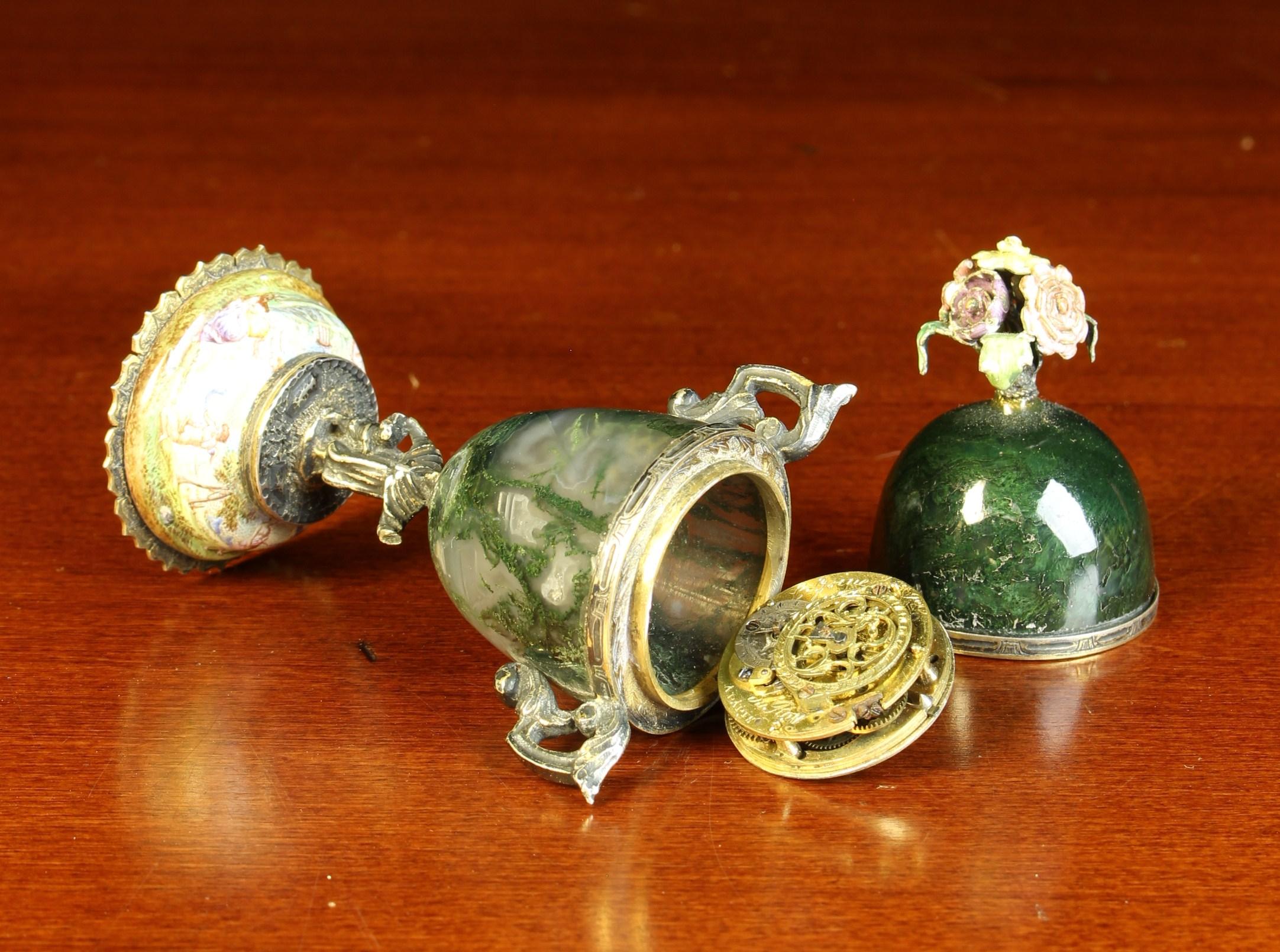 A Bijou Vienna Enamel & Moss-Agate Urn Clock. - Image 2 of 4