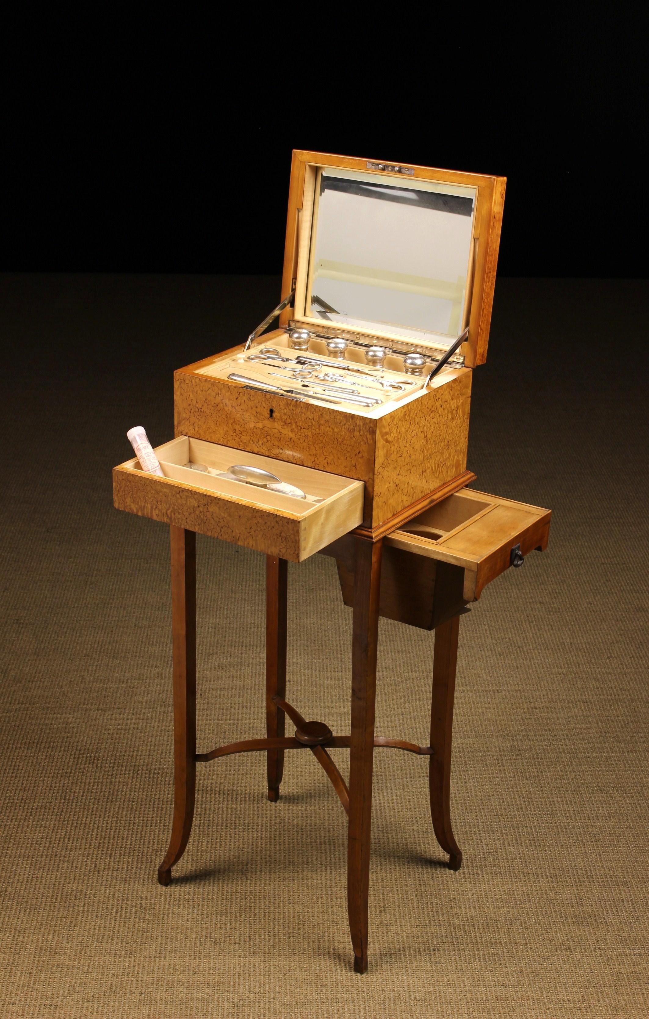A Fine Scandanavian Figured Birch Vanity Box on Stand.