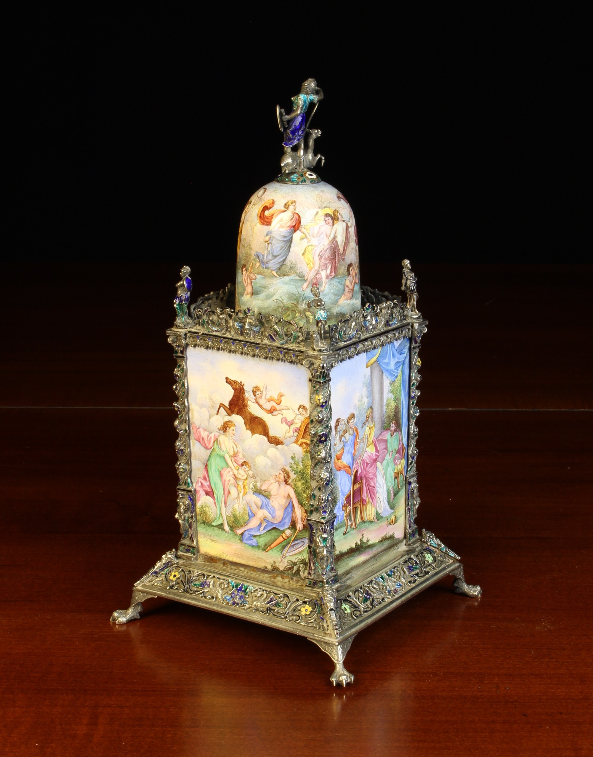 A Small & Highly Decorative Vienna Enamel Table Clock. - Image 3 of 4