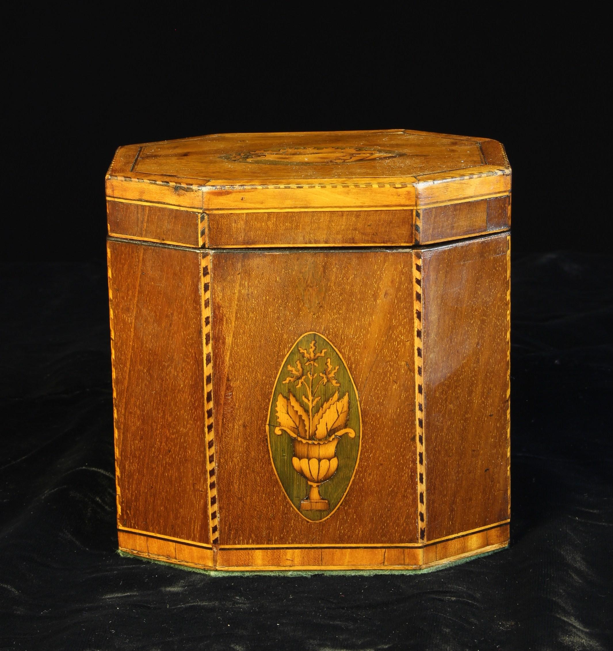 A George III Mahogany & Satinwood-banded Tea Caddy of octagonal form. - Image 2 of 3