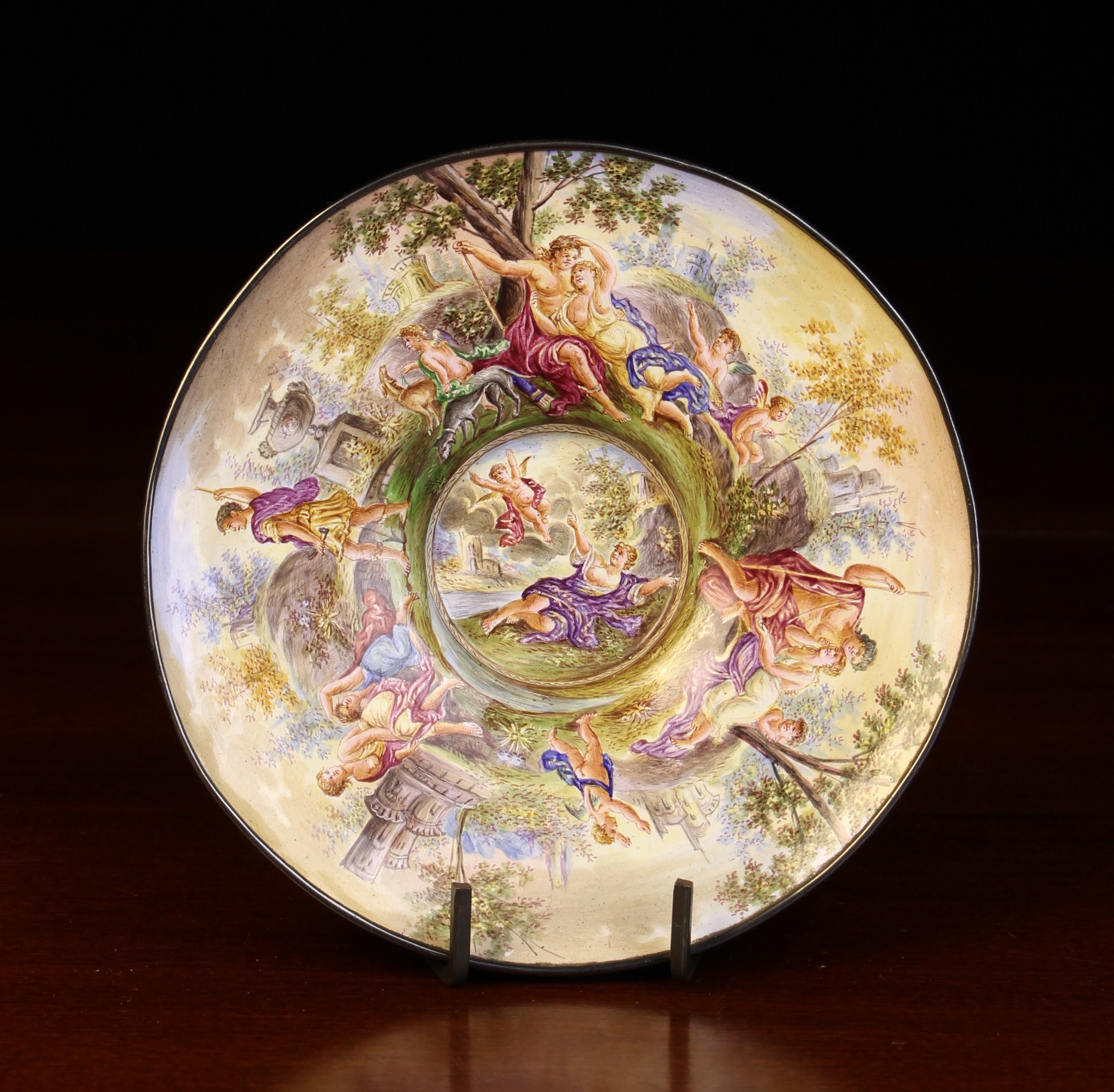 A Fine 19th Century Viennese Enamel Saucer painted in elaborate detail with classical figures