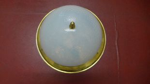 An irridescent glass dome ceiling lamp, 32cm diameter x 17cm tall, generally good condition