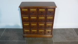 A mahogany 16 drawer pharmacy chemist chest made by a local craftsman to a high standard - Height