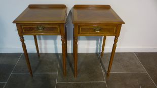 A pair of lamp tables with a single drawer on turned legs made by a local craftsman to a high