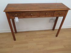 A walnut four drawer hall table made by a local craftsman to a high standard - Height 77cm x 110cm x