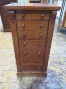 A Victorian mahogany seven drawer Wellington chest - Height 103cm x 52cm x 35cm - in sound