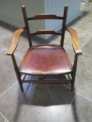 A 19th century mahogany ladder back arts and crafts style elbow chair - Height 71cm x Width 52cm -
