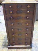 A late Victorian mahogany seven drawer Wellington chest with a fitted double top drawer stamped J
