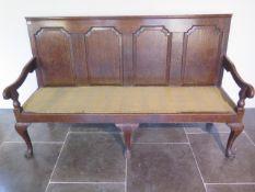 A Georgian oak hall settee bench