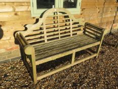 A weathered Lutyens style garden bench - Width 165cm