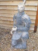 A clay replica Terracotta Army kneeling Archer - Height 117cm x 54cm x 49cm - head detaches - part