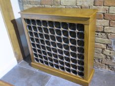 A burr oak 72 bottle wine rack made by a local craftsman to a high standard - Height 96cm x 99cm x