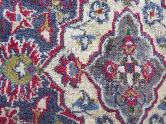 A rich red ground hand woven woollen full pile Persian Kashan carpet with traditional floral - Image 3 of 8