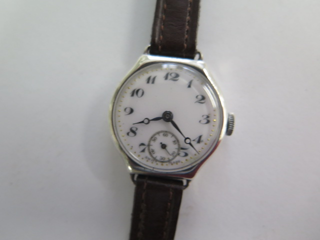 A silver case 1930s ladies wristwatch, has a CYMA 15 jewel lever movement with an enamelled dial, - Image 2 of 4