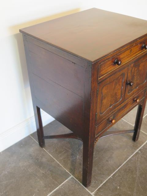 A Georgian and later mahogany wash stand with two drawers and two cupboard doors, 79cm tall x 52cm x - Image 3 of 4