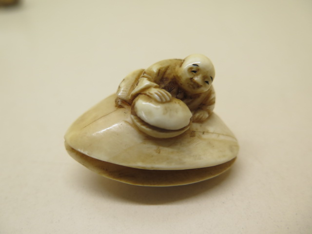 A carved 19th century / early 20th century ivory Netsuke figure on clam shell, 3cm x 4cm