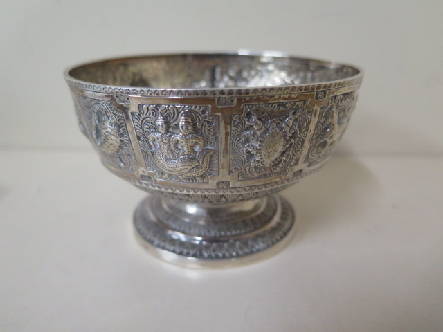 A silver embossed signs of the zodiac bowl, Edinburgh 1876/77 H&I Hamilton and Inches, 7cm tall x - Image 3 of 5