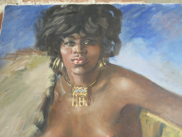 An unframed oil on canvas nude study, 84cm x 59cm, unsigned - Image 2 of 3