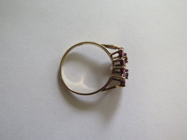 A hallmarked 9ct yellow gold diamond and ruby cluster ring, size U, approx 2.5 grams, in good - Image 2 of 3