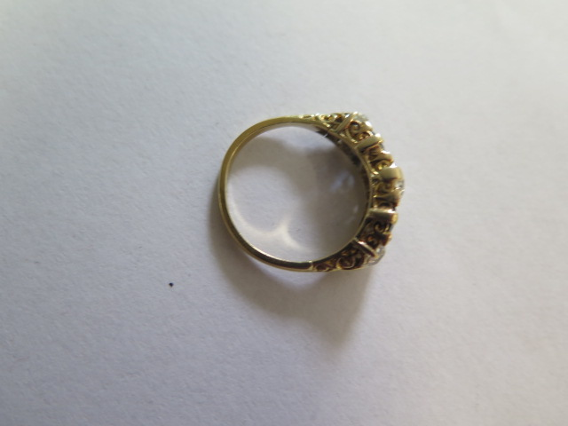 A late Victorian sapphire and diamond 'boat' style ring in yellow colour metal graduated six - Image 4 of 4