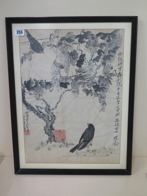 An 18th century Chinese ink on paper painting of birds amongst vines with a poem inscription, two