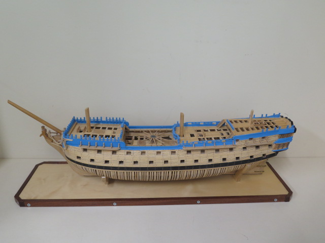 A hand built model of the three mast Man o War Alfred, housed in a show case, 27cm tall x 74cm x - Image 2 of 5