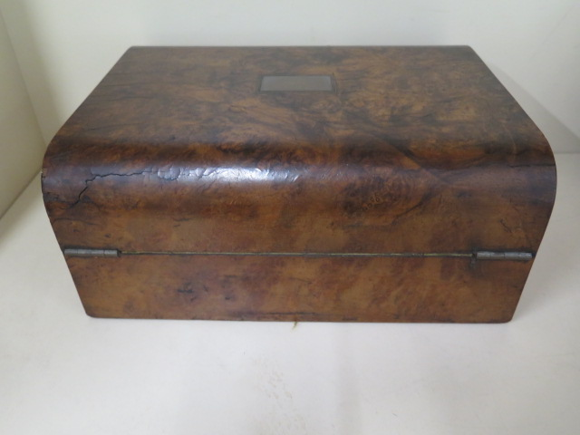 A Victorian walnut writing slope, 30cm wide, reasonably good some wear, no key - Image 6 of 7
