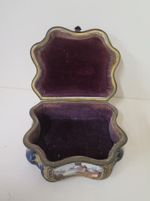 A continental hand decorated shaped porcelain trinket casket with serves style mark, 11cm tall x - Image 8 of 9