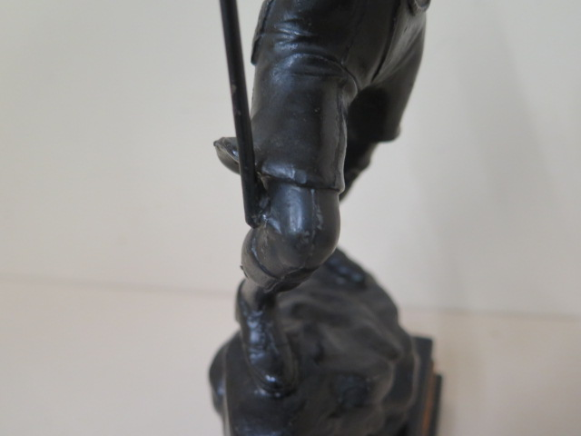 A spelter Scout trophy 35 South West Herts Scout Group, 37cm tall, repair to staff otherwise - Image 3 of 4