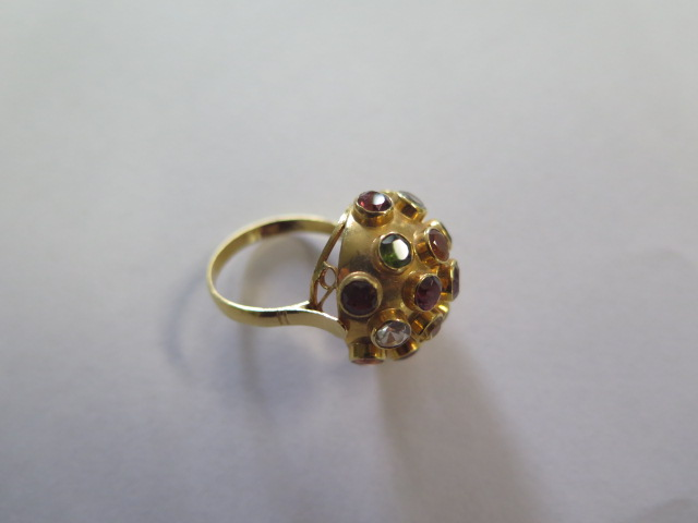 H Stern 18ct yellow gold multi gem Sputnik ring set, the dome bezel set with 19 round cut - Image 3 of 5