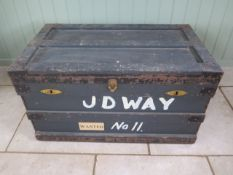 An early 1900's zinc lined wooden Campaign trunk, 52cm tall x 92cm x 54cm