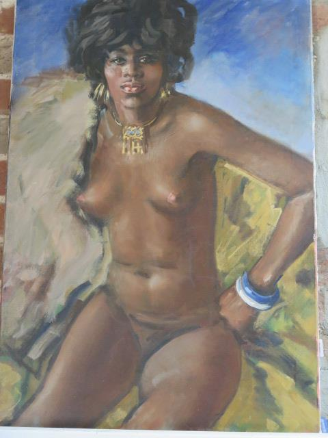 An unframed oil on canvas nude study, 84cm x 59cm, unsigned