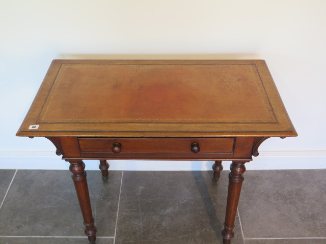 A Victorian mahogany side table with a single drawer and leather inset on top on turned legs, 73cm - Image 2 of 3