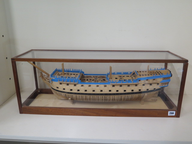 A hand built model of the three mast Man o War Alfred, housed in a show case, 27cm tall x 74cm x