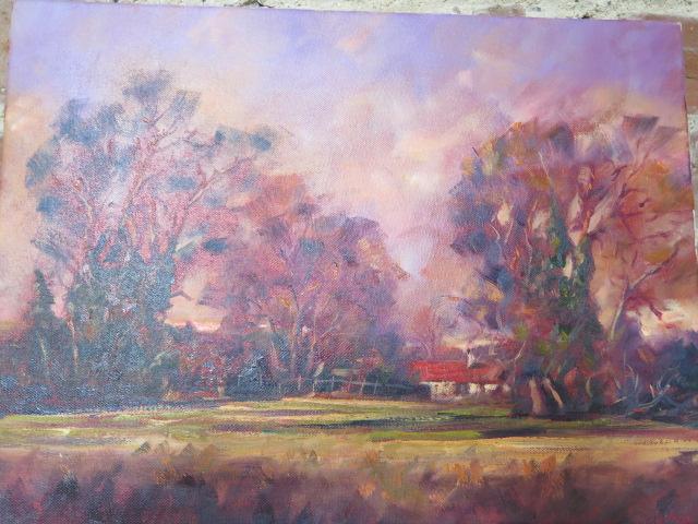 John Rohda oil on canvas, A Farmhouse near Mildenhall, unframed 36cm x 46cm