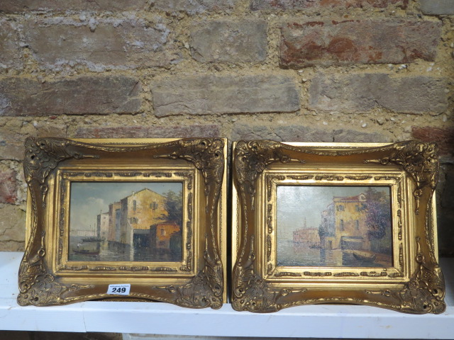 A pair of oil paintings of Venice or Murano, signed S Smith, in gilt frames, frame size 25cm x 29cm