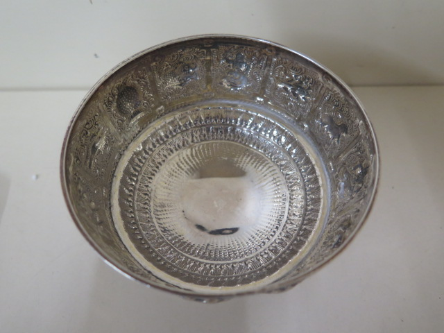 A silver embossed signs of the zodiac bowl, Edinburgh 1876/77 H&I Hamilton and Inches, 7cm tall x - Image 4 of 5