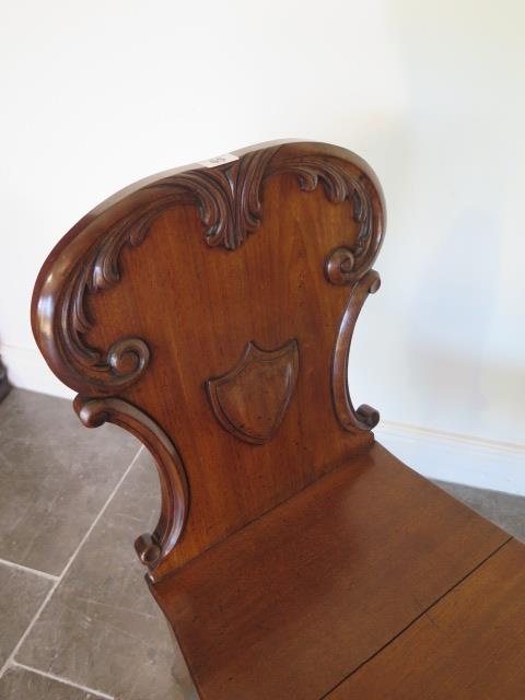 A late Victorian mahogany hall chair in polished condition - Image 2 of 2