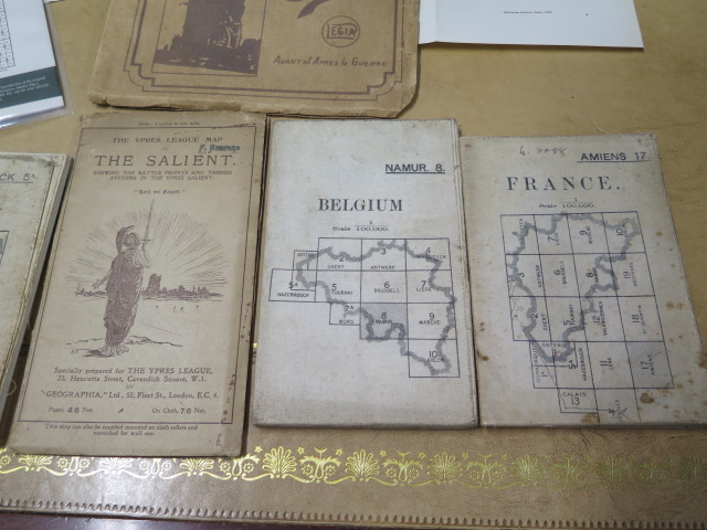 An interesting collection of five WWI trench maps, a reproduction map, an album of postcards Ypres - Image 2 of 8