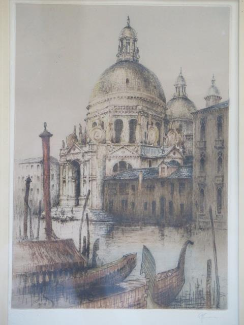 Two Academy proof coloured etchings of Venice by RH Smallridge with Academy of Art Ltd Birmingham - Image 3 of 4