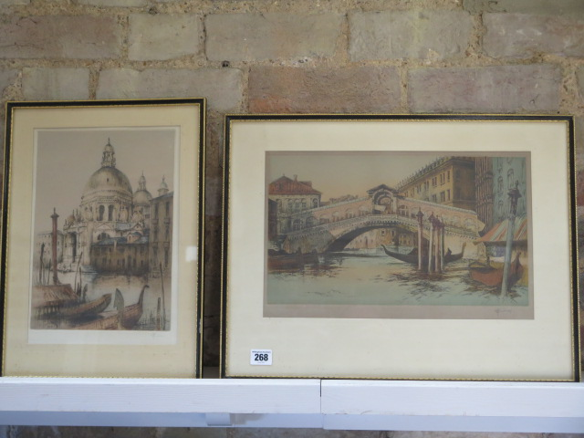 Two Academy proof coloured etchings of Venice by RH Smallridge with Academy of Art Ltd Birmingham