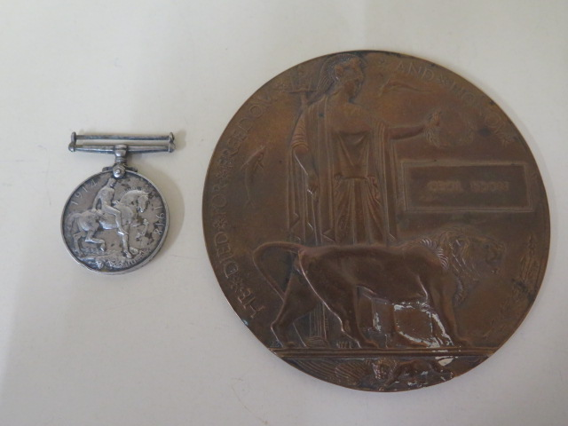 A WWI medal to GS 27244 Pte A Pateman and a Dead mans penny to Cecil Edon