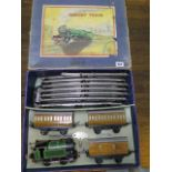 A boxed Hornby 0 gauge number 101 tank passenger clockwork train set, some wear but running with key