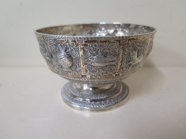 A silver embossed signs of the zodiac bowl, Edinburgh 1876/77 H&I Hamilton and Inches, 7cm tall x - Image 2 of 5