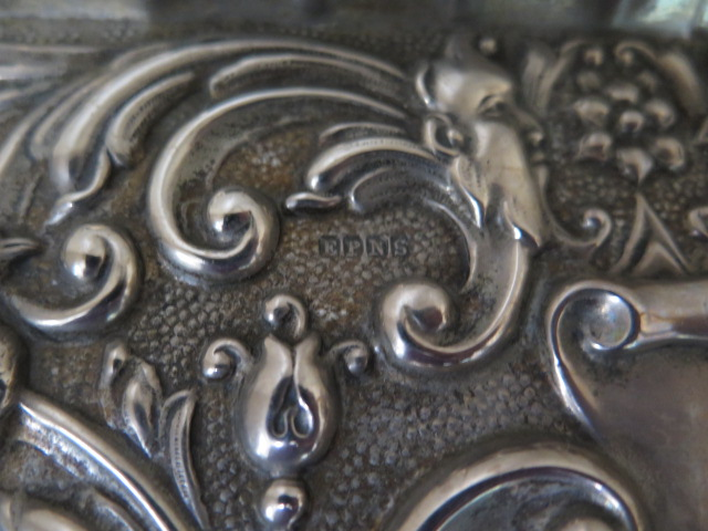 An ornate embossed silver plated tray 27cm x 19cm, a peacock embossed silver tray 18cm x 6cm - Image 5 of 6