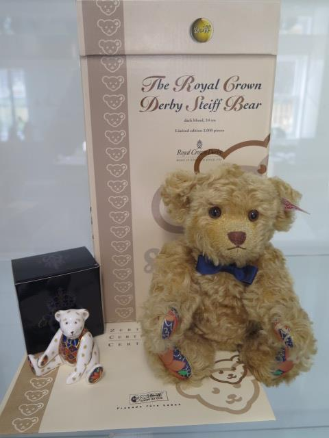 A Steiff Royal Crown Derby bear, mohair, 24cm tall, Limited Edition number 656 of 2000, boxed with