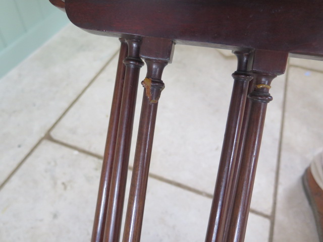 A nest of three mahogany side tables 68cm tall x 51cm x 34cm, repair to two legs otherwise generally - Image 2 of 2