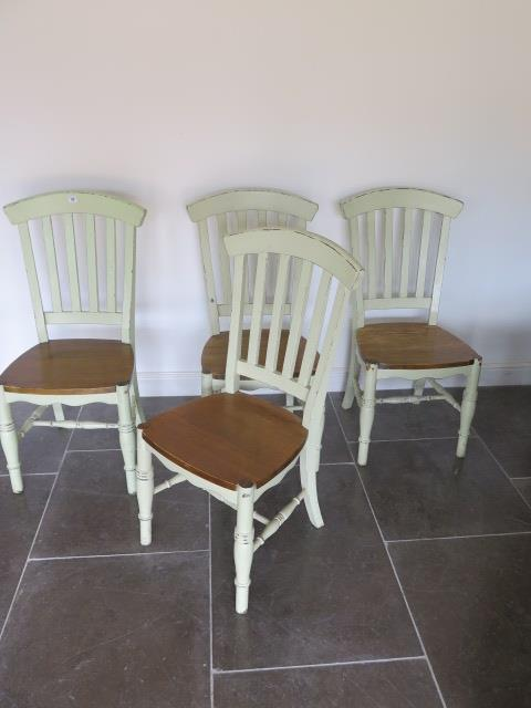Four green painted shabby chic dining chairs, 104cm tall