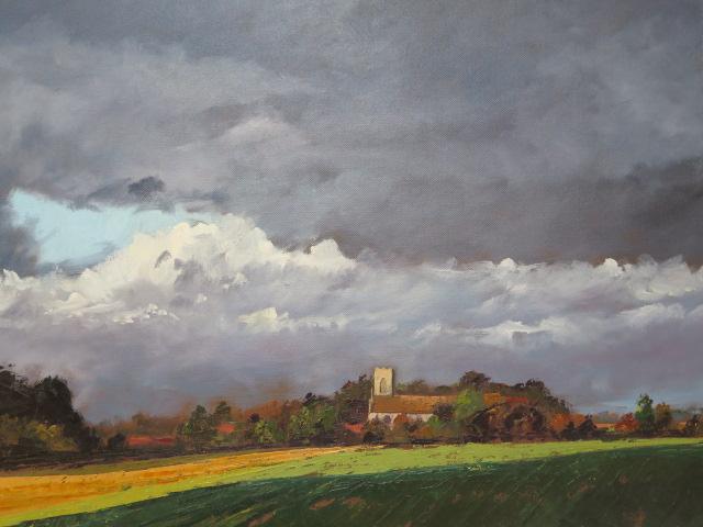John Rohda, oil on canvas, Norfolk church near Walsingham, unframed 51cm x 61cm